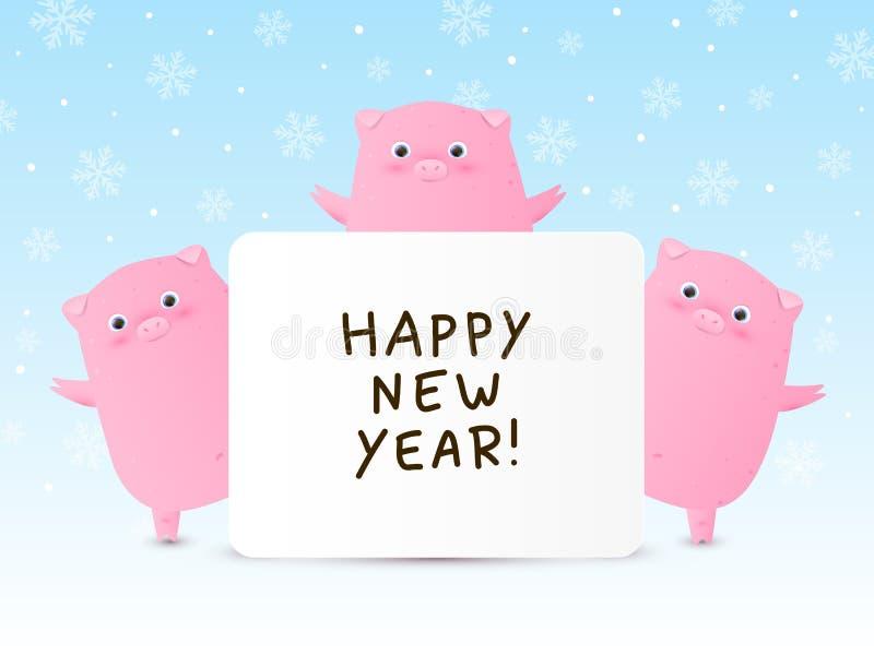 Śliczne świnie - symbole nowy rok 2019 ilustracji