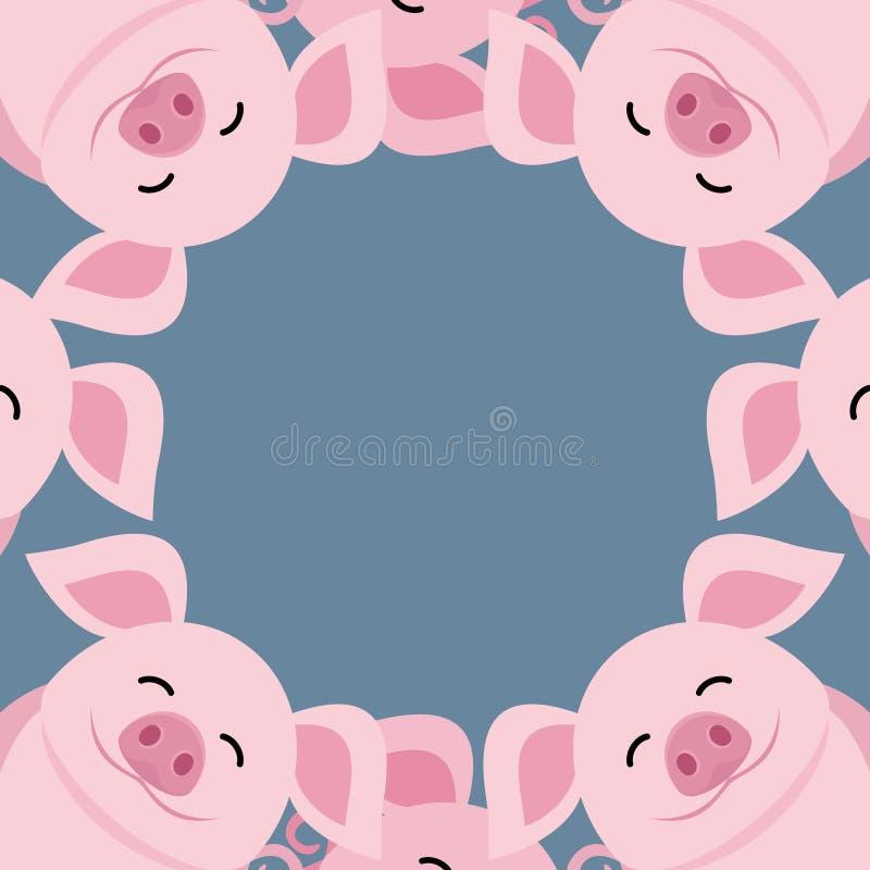 Śliczne świnie w okręgu ilustracja wektor