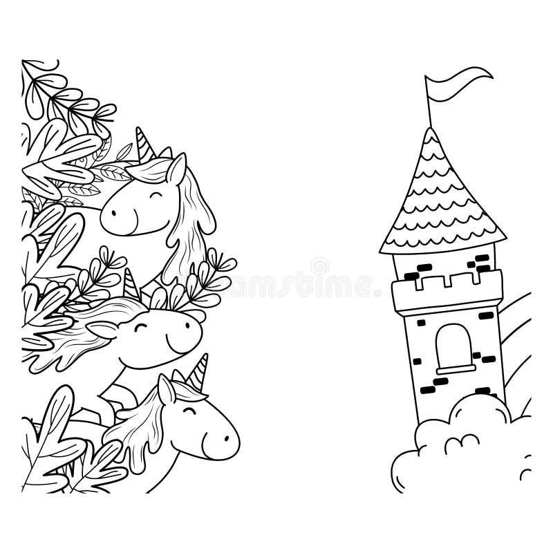 Śliczne bajek jednorożec z kwiecistą dekoracją i kasztelem ilustracja wektor