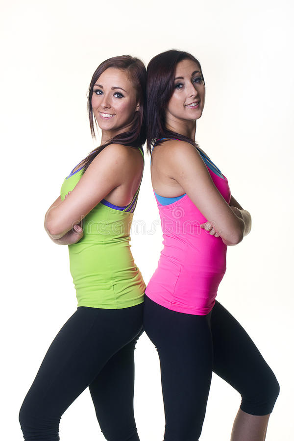 Śliczne bliźniacze siostry stawia czoło z powrotem popierać fotografia stock