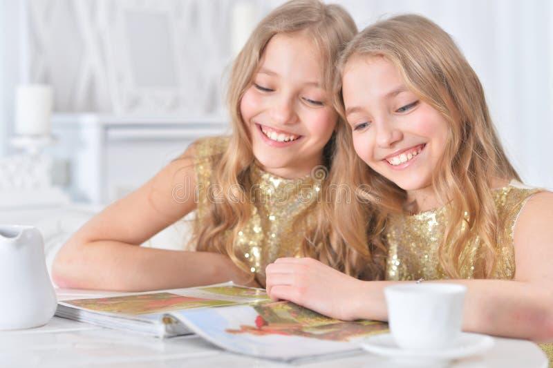 Śliczne bliźniacze siostry z nowożytnym magazynem zdjęcia royalty free