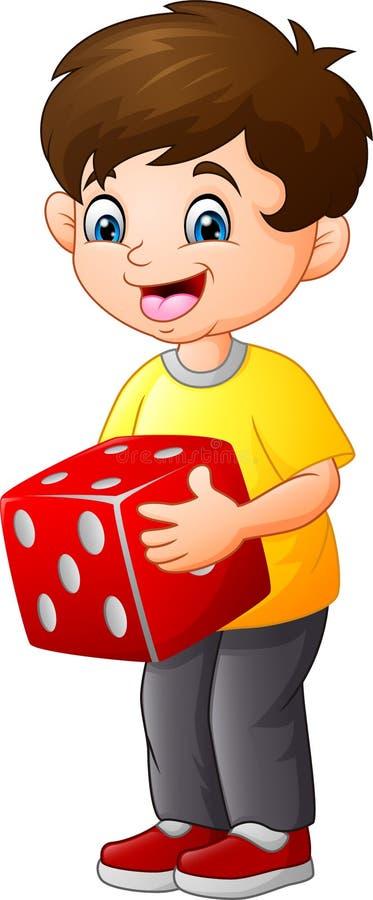 Śliczne chłopiec mienia czerwieni kostki do gry ilustracja wektor