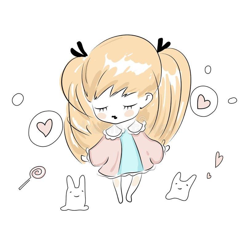 Śliczne chibi małej dziewczynki sztuki z jej zabawkami ilustracji