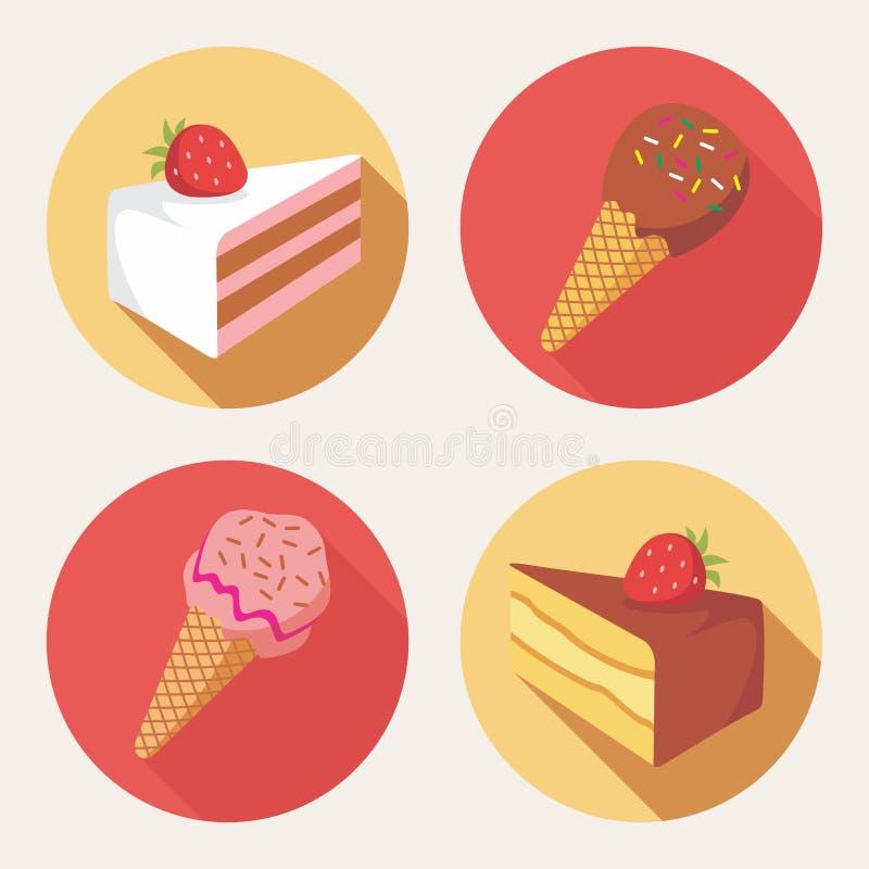 Śliczne deserowe ikony obrazy stock
