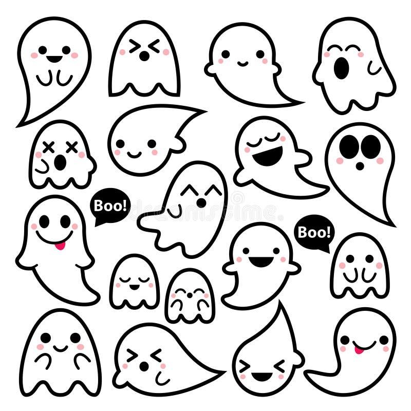 Śliczne duch ikony, Halloweenowy projekta set, Kawaii czerni uderzenia ducha kolekcja na białym tle royalty ilustracja