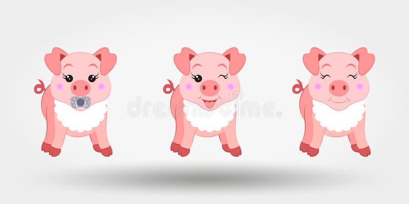 Śliczne dziecko świnie w śliniaczku ikona również zwrócić corel ilustracji wektora Płaski projekt ilustracja wektor