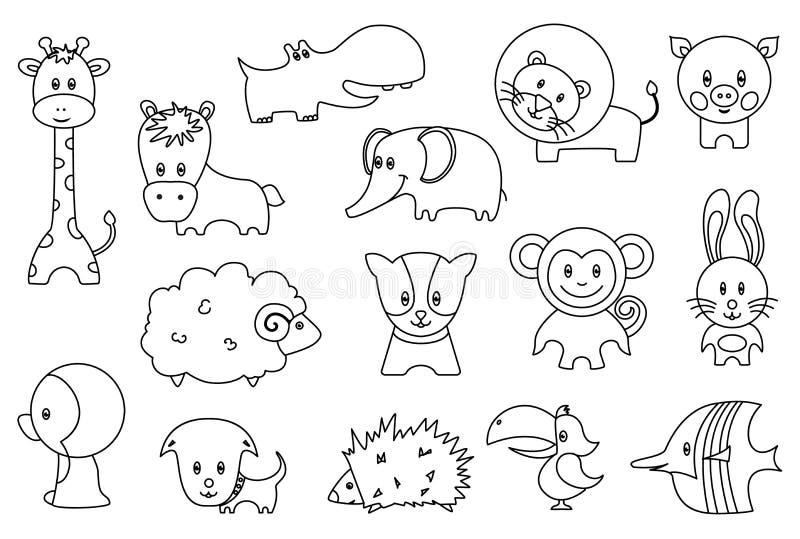 Śliczne dzikie, zwierze domowy kreskówki ikony i Śmieszny lew, ptak, świnia, żyrafa, jeż, papuga, pingwin ilustracji
