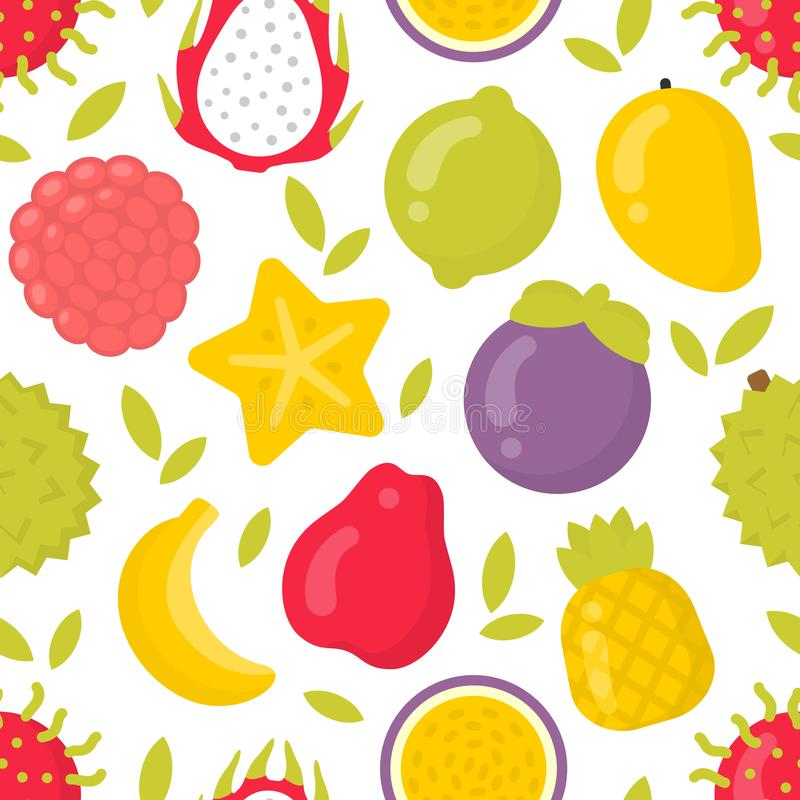 Śliczne egzotyczne owoc, wektorowy bezszwowy wzór na białym tle royalty ilustracja