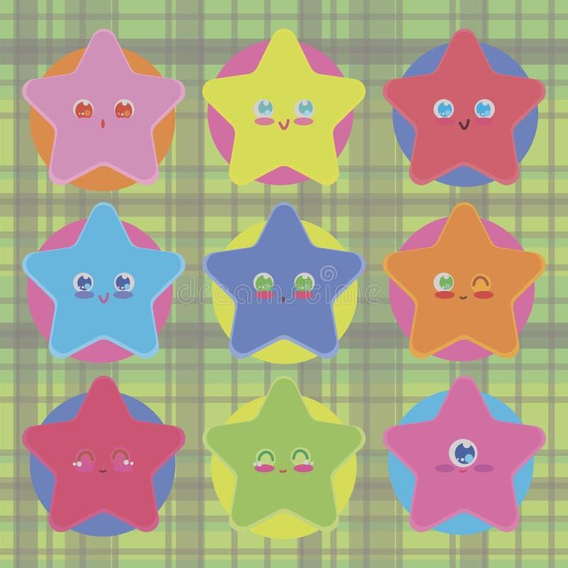 Śliczne gwiazdy z oczami są kawai barwiącymi jaskrawymi odosobnionymi wektorowymi przedmiotów majcherami na tle kontrastowanie ok ilustracja wektor