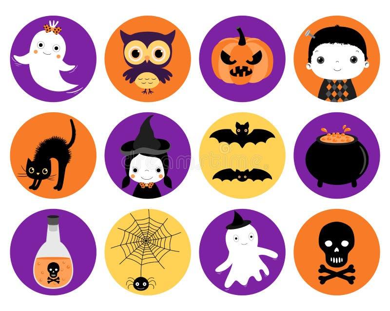 Śliczne Halloweenowe wektorowe ikony w mieszkanie stylu ilustracja wektor