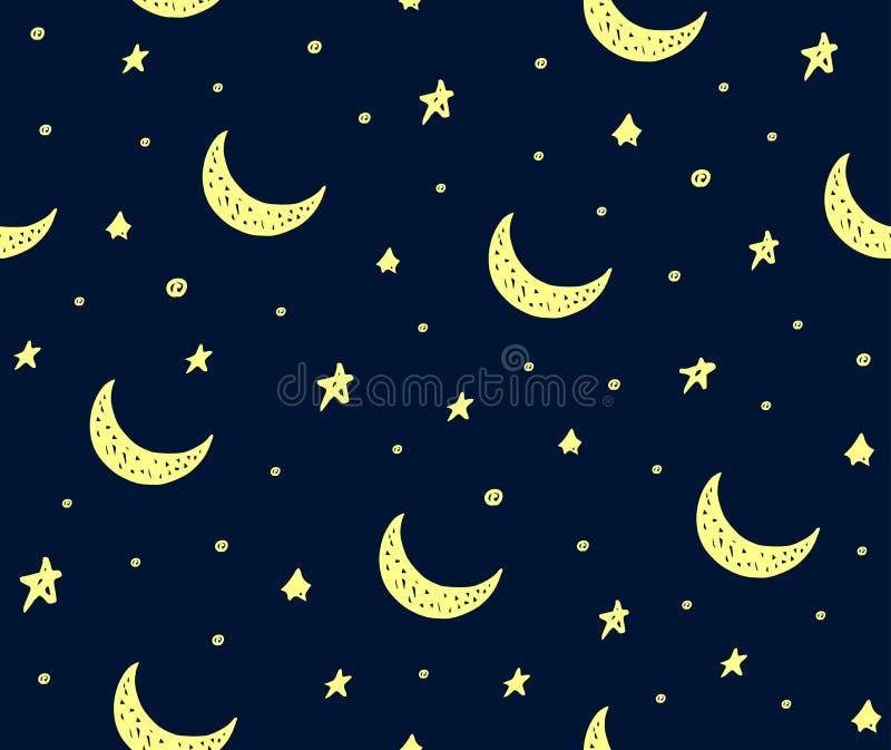 Śliczne handdrawn gwiazdy i księżyc wektor deseniują zmrok - błękit ilustracja wektor