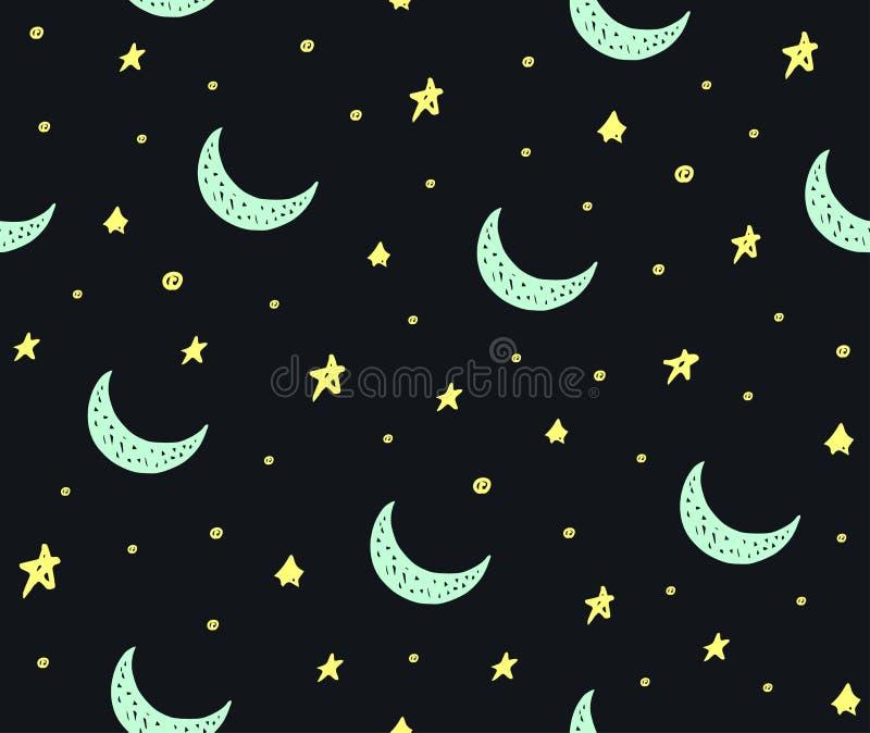 Śliczne handdrawn gwiazdy i księżyc wektoru bezszwowy wzór ilustracja wektor