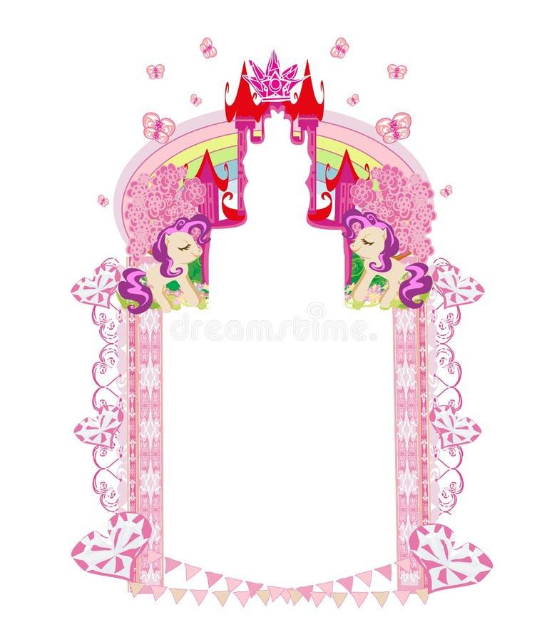 Śliczne jednorożec i baśniowa princess kasztelu rama ilustracji