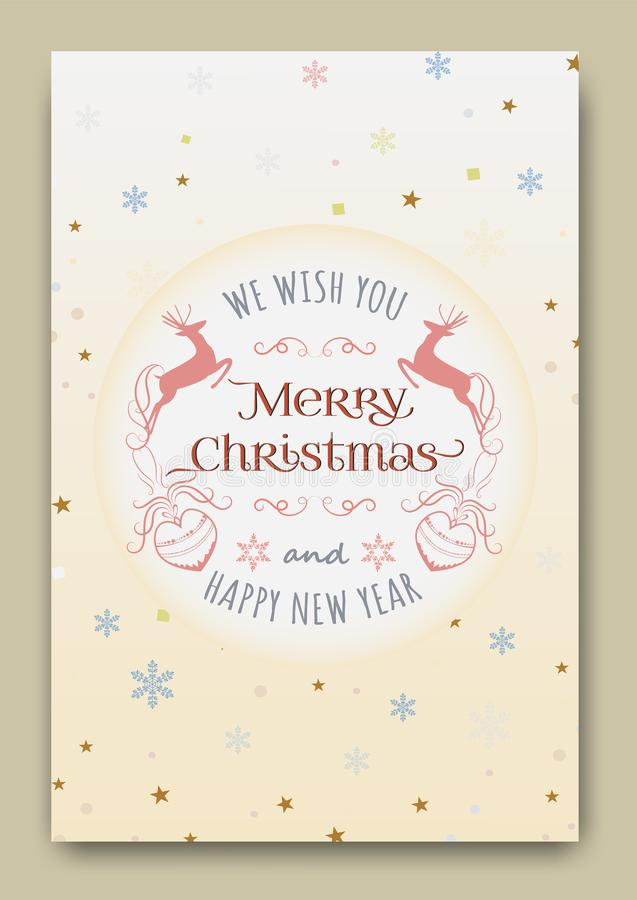 Śliczne kartki bożonarodzeniowe wektorowe royalty ilustracja