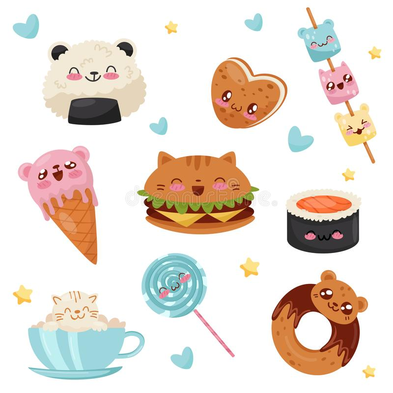 Śliczne Kawaii karmowe postacie z kreskówki ustawiają, desery, cukierki, fast food wektorowa ilustracja na białym tle royalty ilustracja