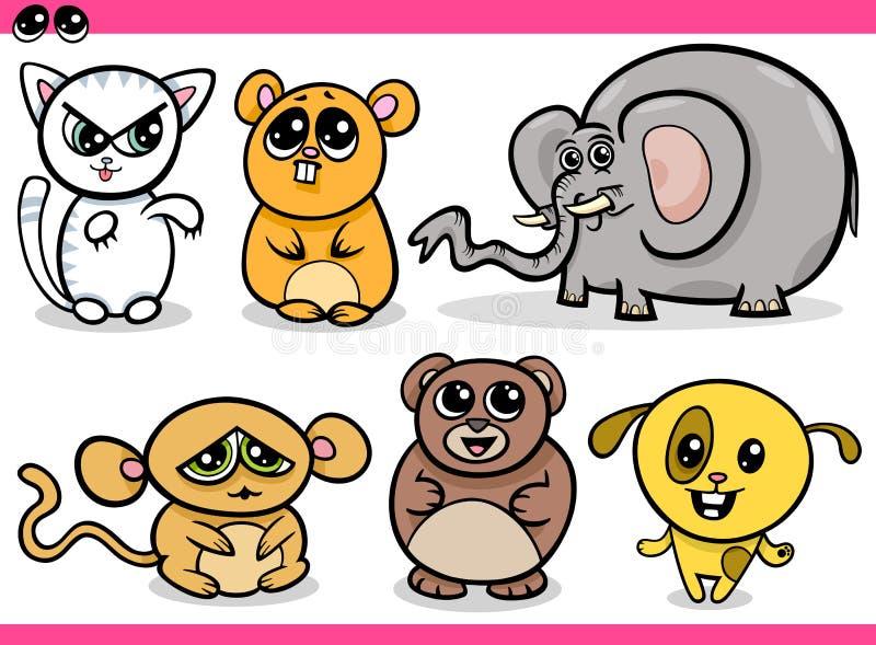 Śliczne kawaii zwierząt kreskówki ilustracji
