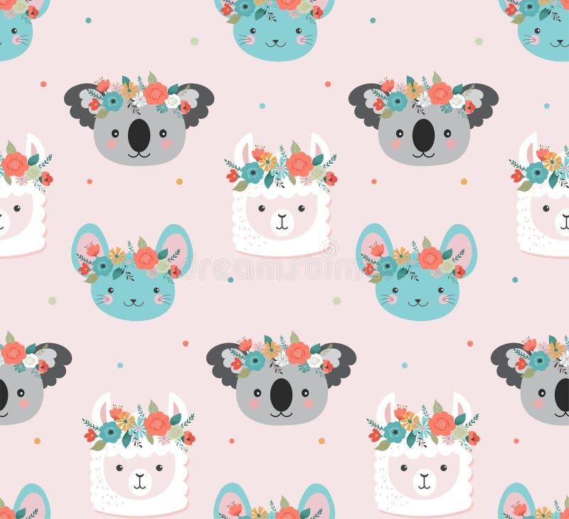 Śliczne koali, lamy i myszy głowy z kwiatem, koronują, wektorowy bezszwowy deseniowy projekt dla pepiniery, plakat, urodziny royalty ilustracja