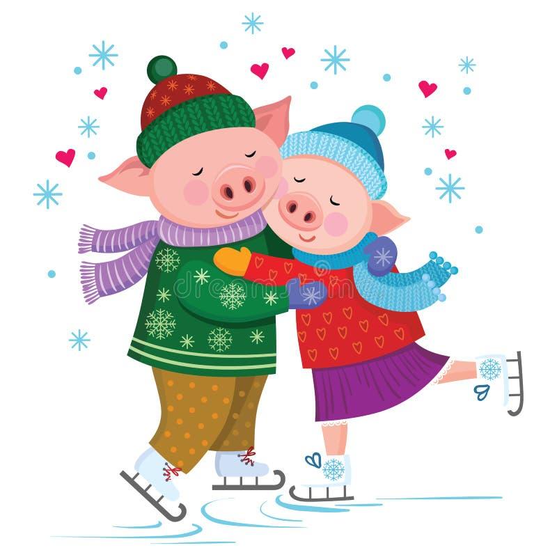 Śliczne kochające świnie ściska scating w scarves i kapeluszach royalty ilustracja