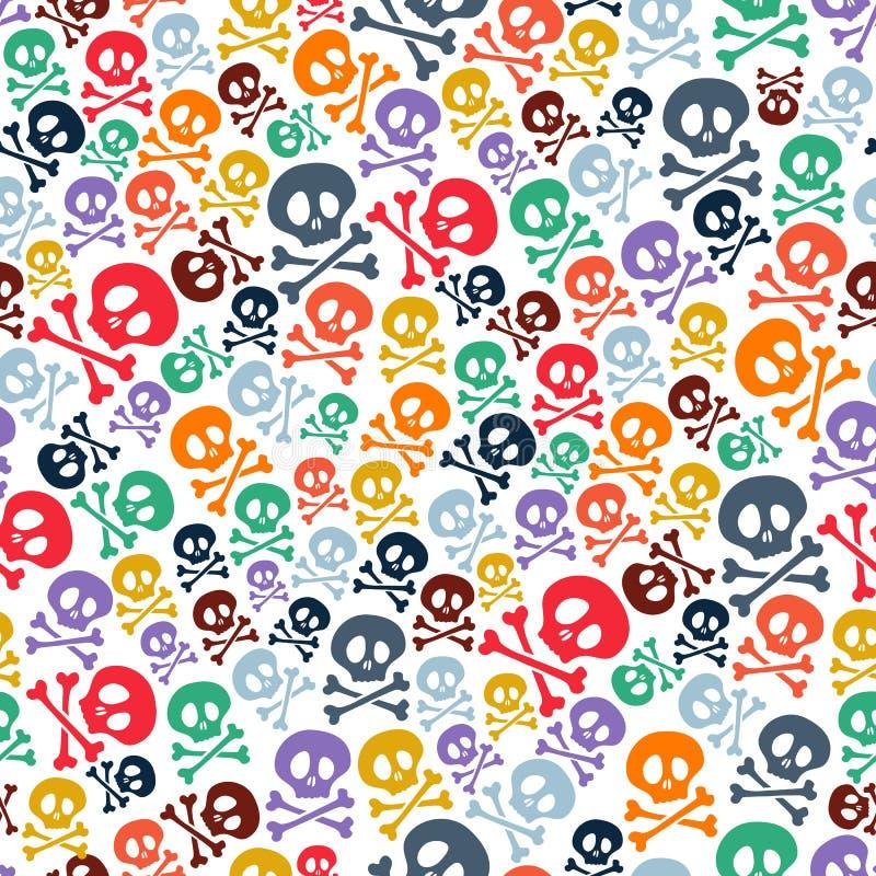 Śliczne kolorowe czaszki i crossbones bezszwowi ilustracja wektor