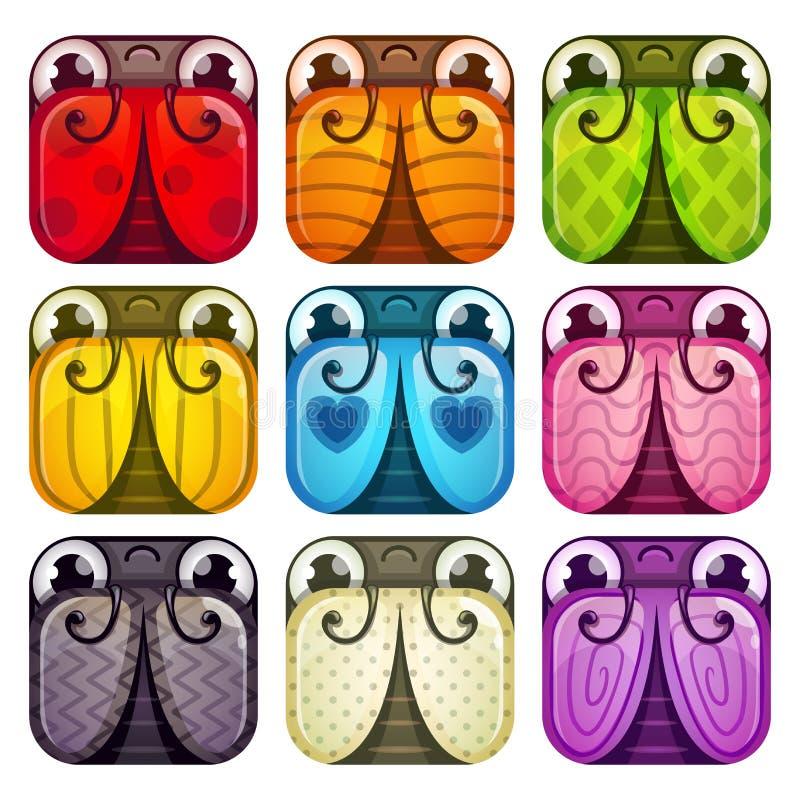 Śliczne kolorowe glansowane kwadratowe pluskwy ustawiać ilustracja wektor