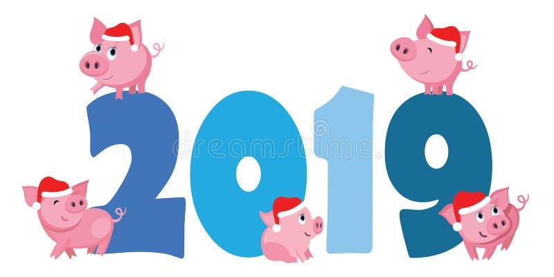 Śliczne kreskówek świnie skaczą na postaciach 2019 ilustracji