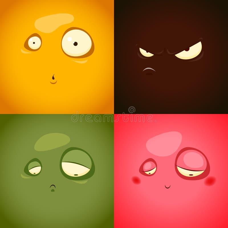 Śliczne kreskówek emocje gniewają, zaskakują, smucenie, zawstydzenie - ilustracja wektor