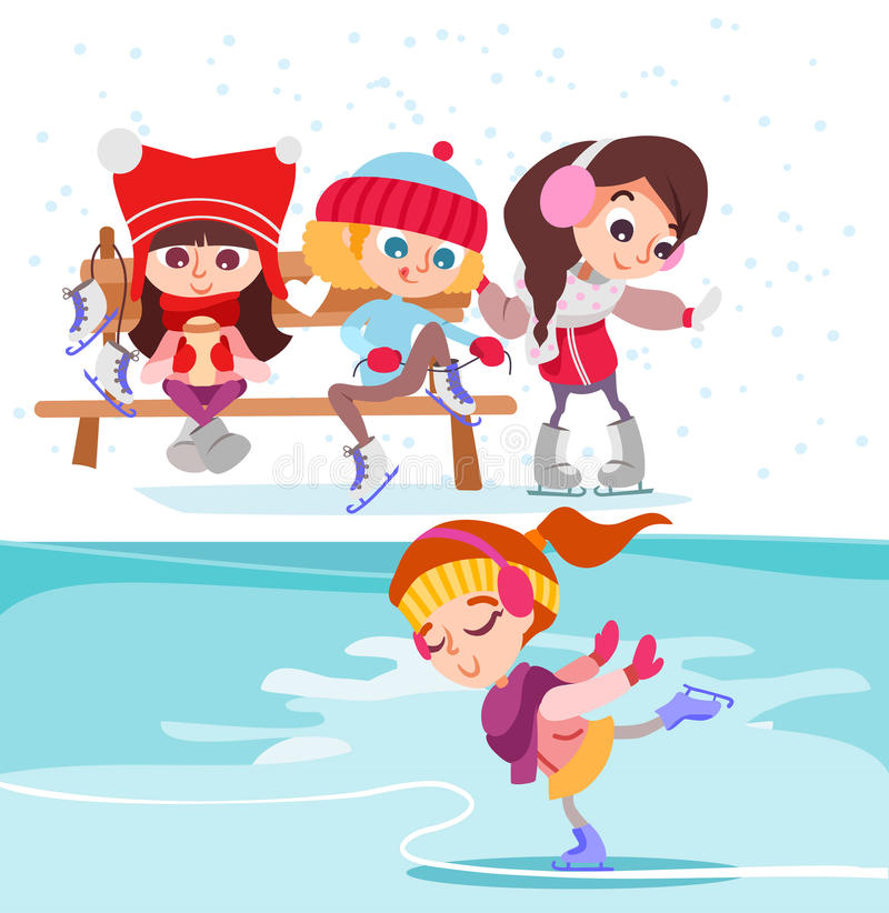 Śliczne kreskówek małe dziewczynki na lodowym lodowisku royalty ilustracja