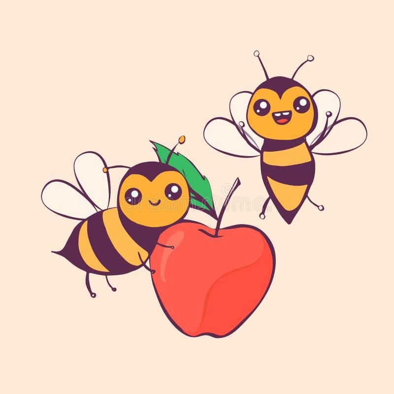 Śliczne kreskówek pszczoły niosą jabłka, wektorowa ilustracja royalty ilustracja