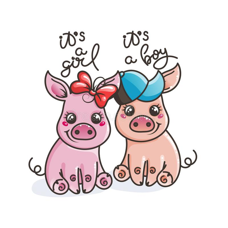 Śliczne kreskówki dziecka świnie ilustracja wektor