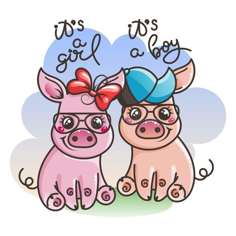 Śliczne kreskówki dziecka świnie w chłodno okulary przeciwsłoneczni royalty ilustracja