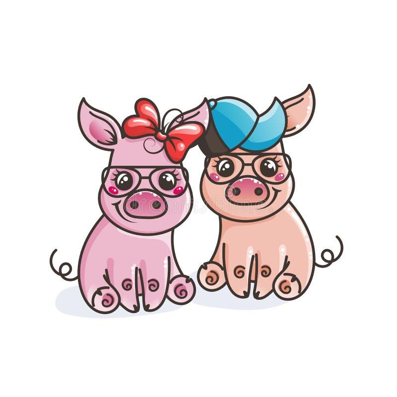 Śliczne kreskówki dziecka świnie w chłodno okulary przeciwsłoneczni ilustracja wektor