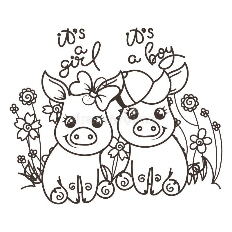 Śliczne kreskówki dziecka świnie w miłości ilustracji