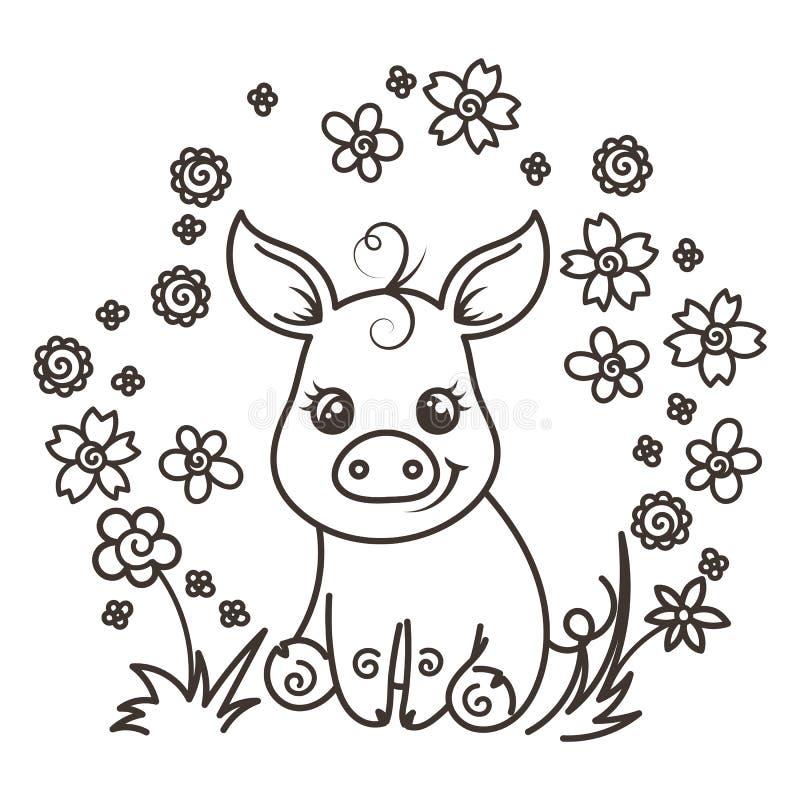Śliczne kreskówki dziecka świnie w miłości royalty ilustracja