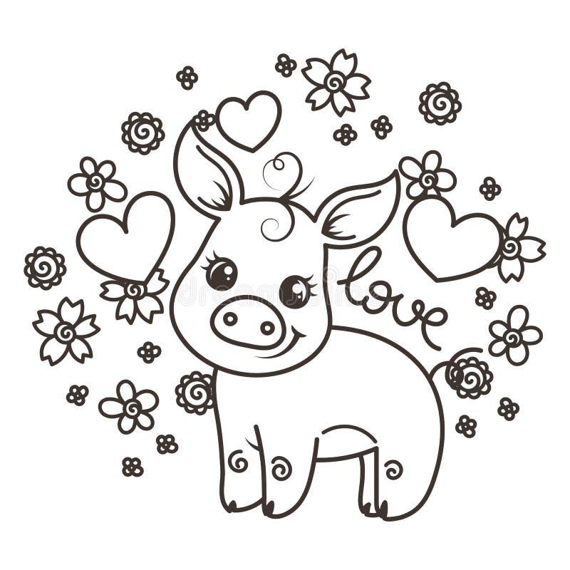Śliczne kreskówki dziecka świnie w miłości ilustracja wektor