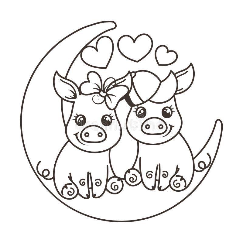 Śliczne kreskówki dziecka świnie w miłości na księżyc ilustracja wektor