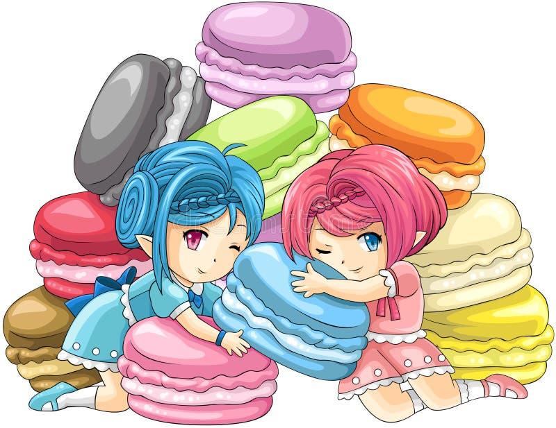 Śliczne kreskówki macaron boginki z stosem kolorowi macarons w tle ilustracja wektor