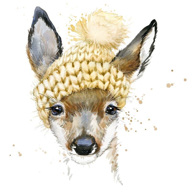 Śliczne lasowe jelenie koszulek grafika, akwarela rogacza ilustracja royalty ilustracja