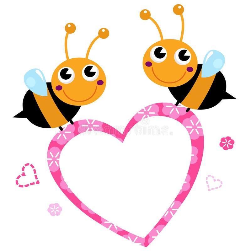Śliczne latające pszczoły z menchii miłości sercem ilustracja wektor