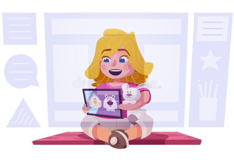 Śliczne mała dziewczynka zegarka kreskówki na pastylce Dziecko charakteru projekt obcy kresk?wki kota ucieczek ilustraci dachu we ilustracji