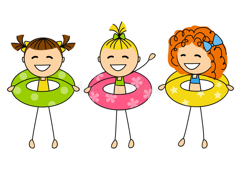 Śliczne małe dziewczynki z lifebuoys ilustracja wektor
