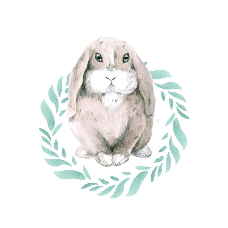 Śliczne małe szarość dostrzegający królik w round ramie zieleni liście Zając odizolowywająca na białym tle Wielkanoc królik royalty ilustracja