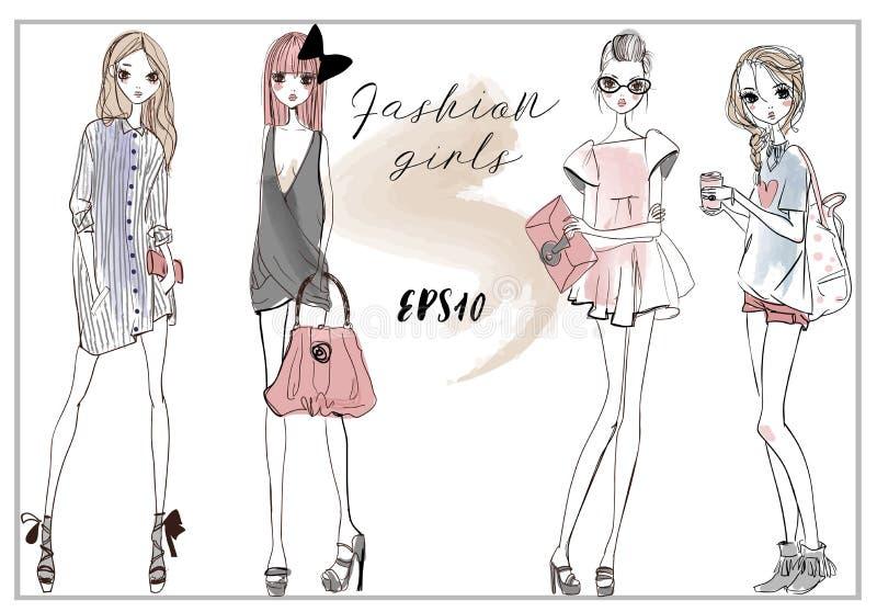 Śliczne mod dziewczyny royalty ilustracja