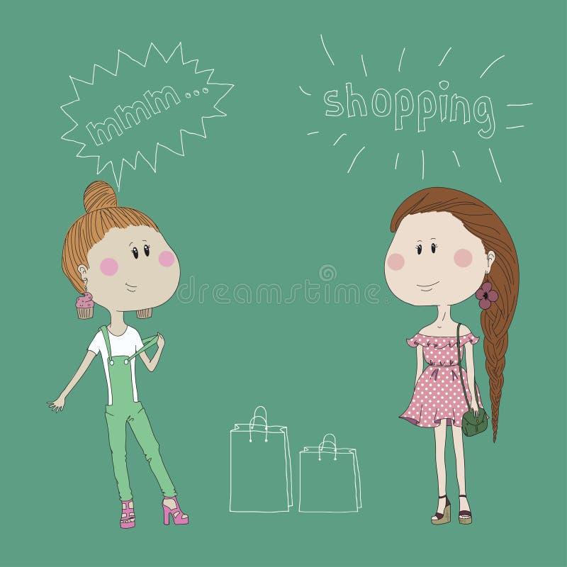 Śliczne mod dziewczyny rysować w atramencie na roczniku royalty ilustracja