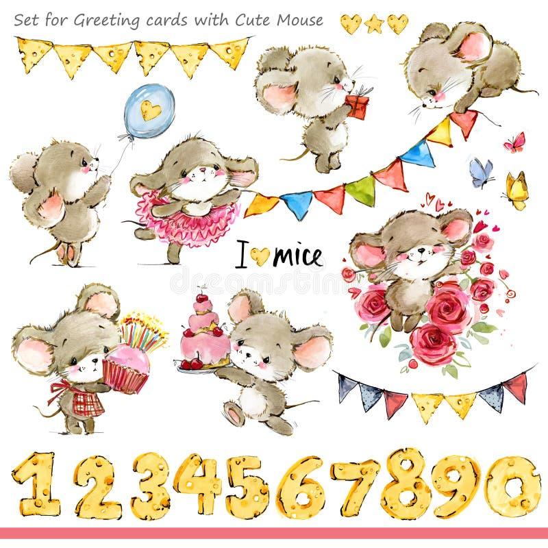 Śliczne myszy ilustracyjne Śmieszna kreskówki mysz royalty ilustracja