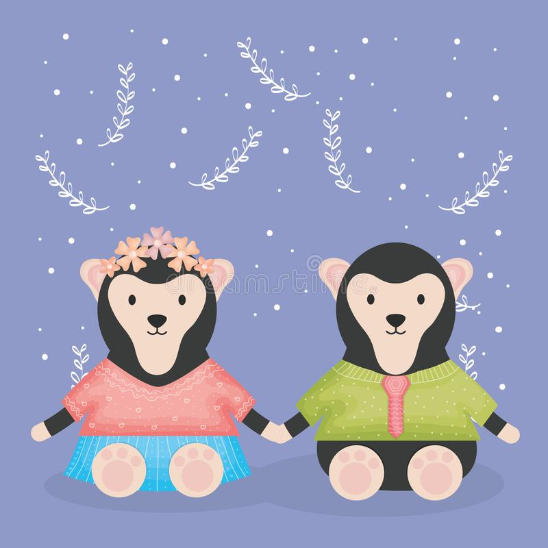 Śliczne par małpy z odzieżowymi charakterami ilustracja wektor