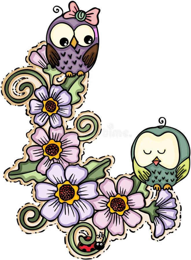 Śliczne par sowy z kwiatami ilustracja wektor