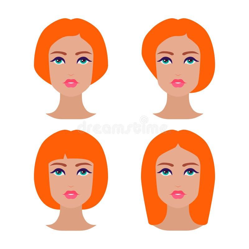 Śliczne piękne młode dziewczyny stawiają czoło z różnorodnym włosianym stylem Imbirowe kobiety Set avatars Wektorowa kolekcja royalty ilustracja