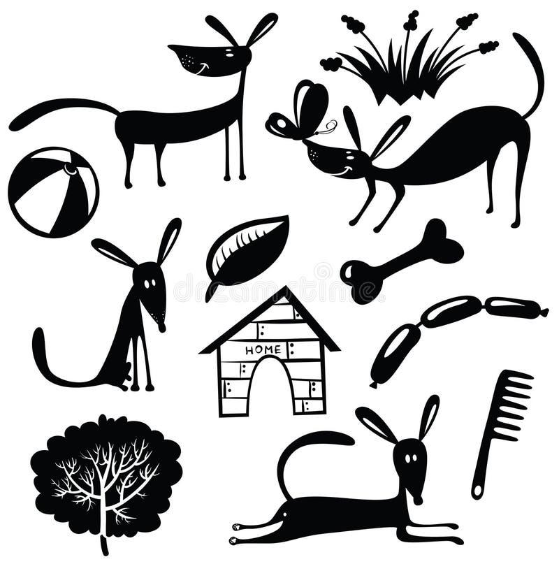 Śliczne pies sylwetki ilustracja wektor