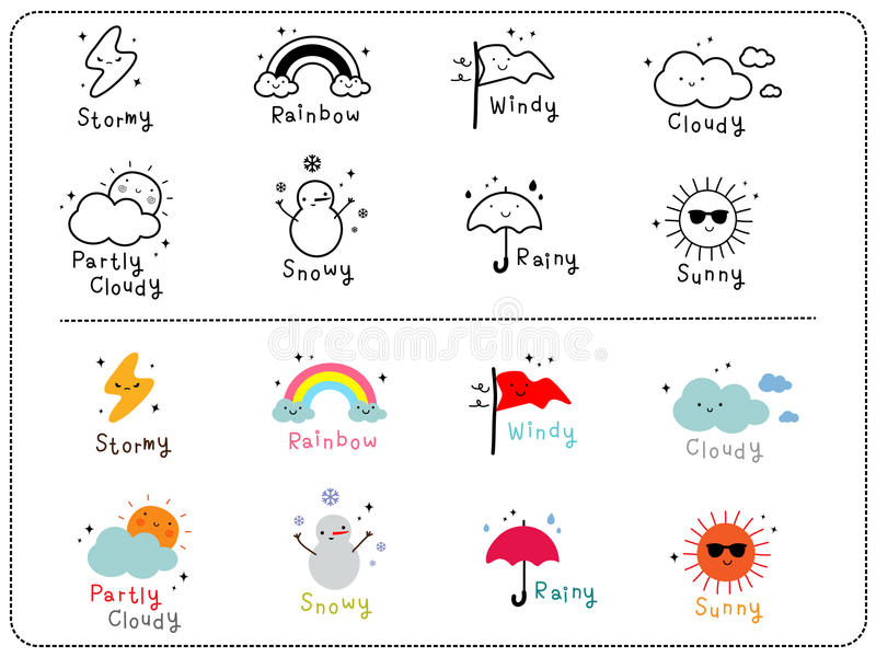 Śliczne pogodowe ikony, kontur i kolorowa śliczna ikona, ilustracja wektor