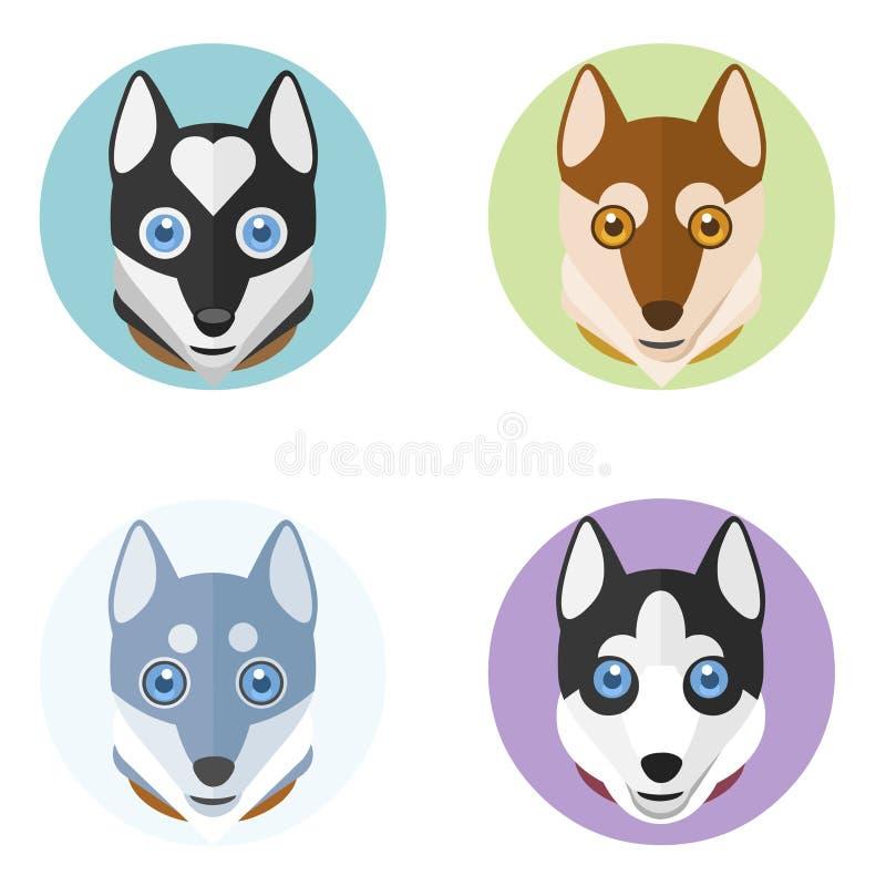 Śliczne psie głowy w mieszkanie stylu Wektorowa ręka rysująca ilustracja ilustracja wektor